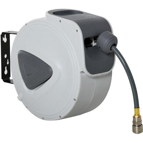 DURHAND® Schlauchtrommel mit automatisches Aufrollen Schlauchaufroller 43x25x35cm - grau