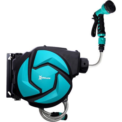 DURHAND® Schlauchtrommel Wandschlauchbox 180° schwenkbar Frostschutz -5–45 °C Kunststoff Grün + Schwarz 10 m - grün/schwarz