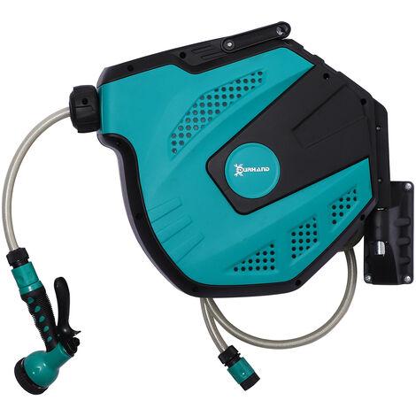 DURHAND® Schlauchtrommel Wandschlauchbox 180° schwenkbar Frostschutz -5–45 °C Kunststoff Grün + Schwarz 15 m - grün/schwarz