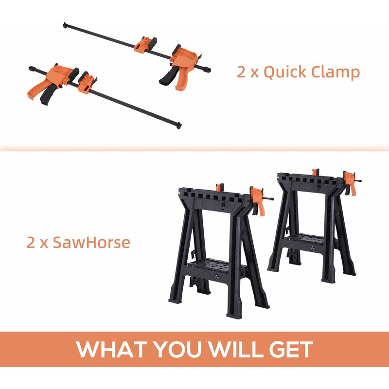 Image of DURHAND Set Of 2 Foldable Clamping Twin Support Bars Cutting Stands Workbench
