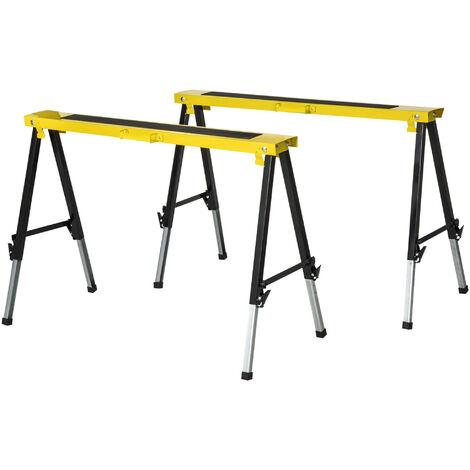 "main image of ""DURHAND Set of 2 Folding Saw Horses Steel Frame w/ Anti-Slip Platform Handle DIY"""