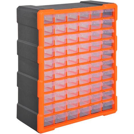 DURHAND® Sortimentskasten Kleinteilemagazin 60 Schubfächer Orange - orange