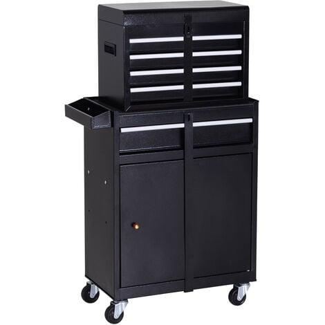 DURHAND® Werkstattwagen Werkzeugschrank Werkzeugkasten mit 5 Schubladen 360°-Rollen Metall 52,5 x 28 x 104,5 cm - schwarz