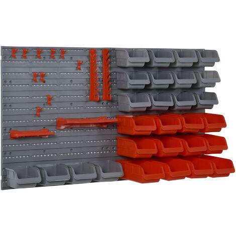 DURHAND® Werkzeuglochwand Wandregal Werkzeughalter Werkzeugwan 44 Teil PP Rot+Grau