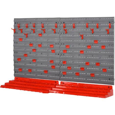 DURHAND® Werkzeuglochwand Wandregal Werkzeughalter Werkzeugwan 54 Teil Hakenset Grau+Rot
