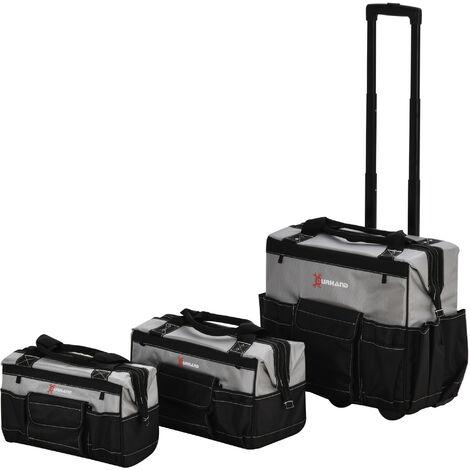 DURHAND® Werkzeugtrolley leer Werkzeugtaschen-Set mit Rollen 3-Größe Oxford-Gewebe - schwarz/grau