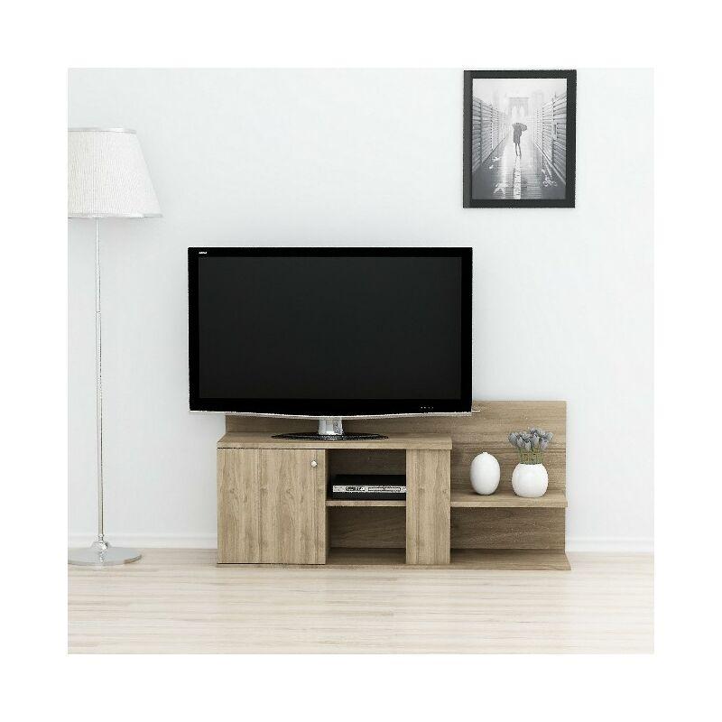 Duru TV-Schrank mit Tueren, Regalen - aus dem Wohnzimmer - Nussbaum aus Holz, 122 x 33,3 x 55 cm - HOMEMANIA