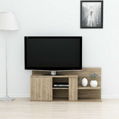 Duru TV-Schrank mit Tueren, Regalen - aus dem Wohnzimmer - Nussbaum aus Holz, 122 x 33,3 x 55 cm
