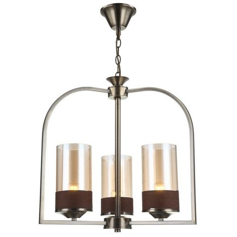 Durul Chandelier - Hanging lamp - Ceiling lamp - Copper made of Metal, Glass, 46 x 46 x 73 cm, 3 x E27, 40 W