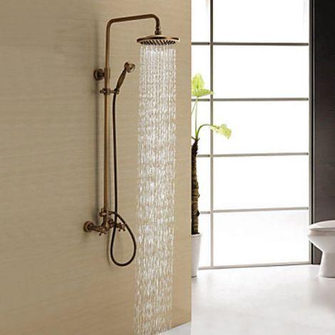 Dusch-Armatur in antikem Stil mit Regenbrause und Handbrause