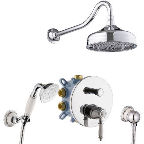 Dusch-Set Unterputz Nostalgie Retro Antik- Dusche Keramik Duschsystem