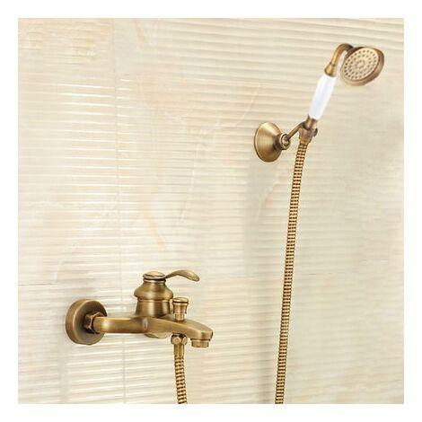 Dusch- und Badewannen-Armatur in antikem Messing, zur Wandmontage