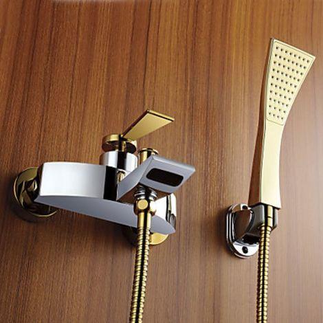 Dusch- und Badewannenarmatur modern, Gold-Silber