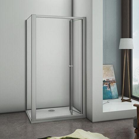 Duschabtrennung Duschwand Klapp-/Falttür Duschkabine Echtglas Ohne  Duschtasse