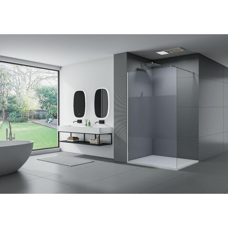 Breite Walk-In:900mm Breite w/ählbar graues Glas Duschabtrennung Walk-In Nano Echtglas EX101