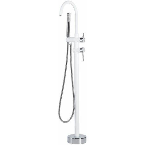 Duscharmatur Armatur Freistehend Mischer Wasserhahn Dusche Set Brause Weiß-Silber Edelstahl Messing Kunststoff Modern