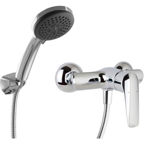 Duscharmatur Aufputz Set Handbrause Duschkopf Einhandmischer Messing