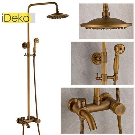 Duscharmatur, Handbrause, Standfuß, Bad, antikes Design, Messing, Keramik