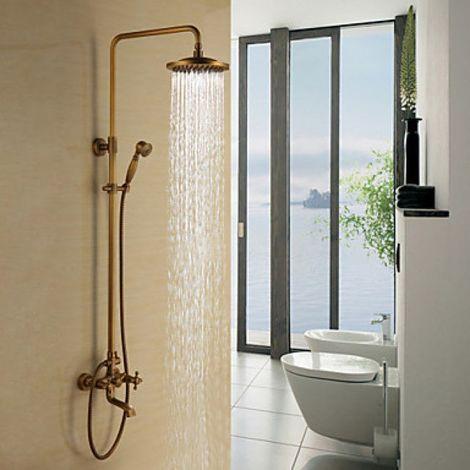 Duscharmatur in Antikmessing, mit Wasserfallbrause und Handbrause