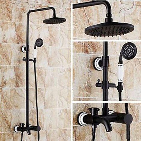 Duscharmatur in Antikmessing mit Wasserfallbrause und Handbrause