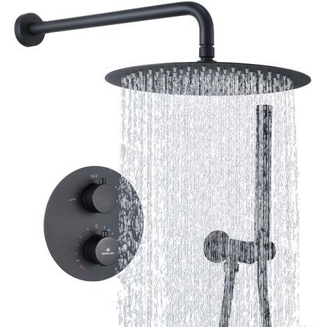 Duscharmatur Schwarz Duschsystem Rainshower Regendusche Duschset Brausegarnitur mit Duschkopf und Handbrause Dusche Armatur mit Überkopfbrause für Badezimmer