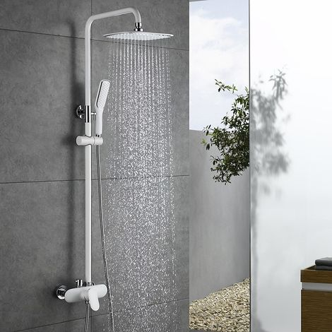 Duscharmatur Weiß Duschsystem Rainshower Regendusche Duschset Brausegarnitur mit Duschkopf und Handbrause Dusche Armatur mit Überkopfbrause für Badezimmer