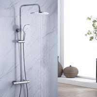 Duscharmaturen Set Duschsystem thermostat regendusche Duschset mit Brausethermostat- mit Regenbrause, Handbrause und Brausearm