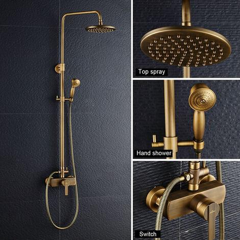 Duscharmaturen Set Messing Duschsystem Überkopfbrause Regendusche Duschset Handbrause Duschkopf Vintage Design golden