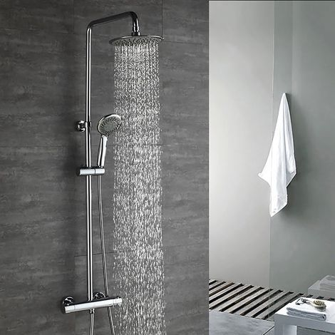 Duscharmaturen Set Thermostat Duschset Brausethermostat Duschsystem Duscharmatur Kupfer mit Handbrause und Regendusche