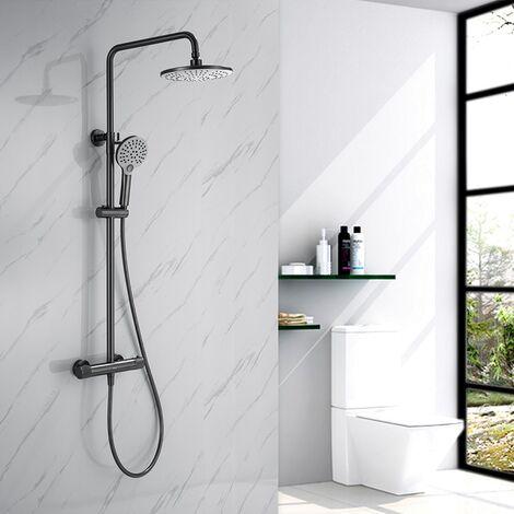 Dusche Duschsystem mit Thermostat, 2 Funktionen Duschset Regendusche inkl. Edelstahl Kopfbrause, Handbrause, verstellbarer Duschstange Graue
