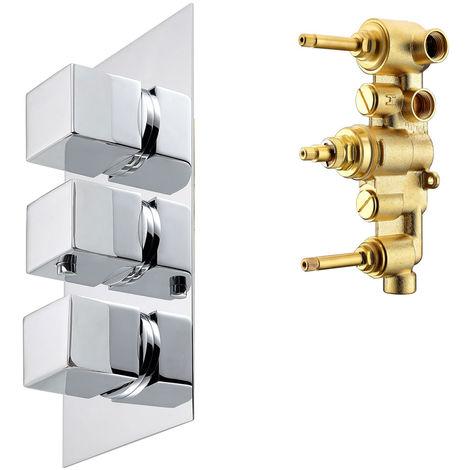 Dusche Wanne Unterputz Drei Wege Einhebelmischer Mischbatterie Wannenarmatur Armatur Chrom Thermostat Sanlingo