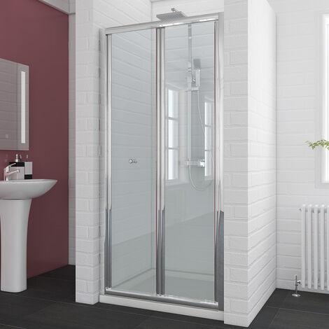 Duschkabine 90cm Duschabtrennung in Nische Nischentür Falttür Duschtür Duschwand glas faltbar mit Duschtasse 90x100cm