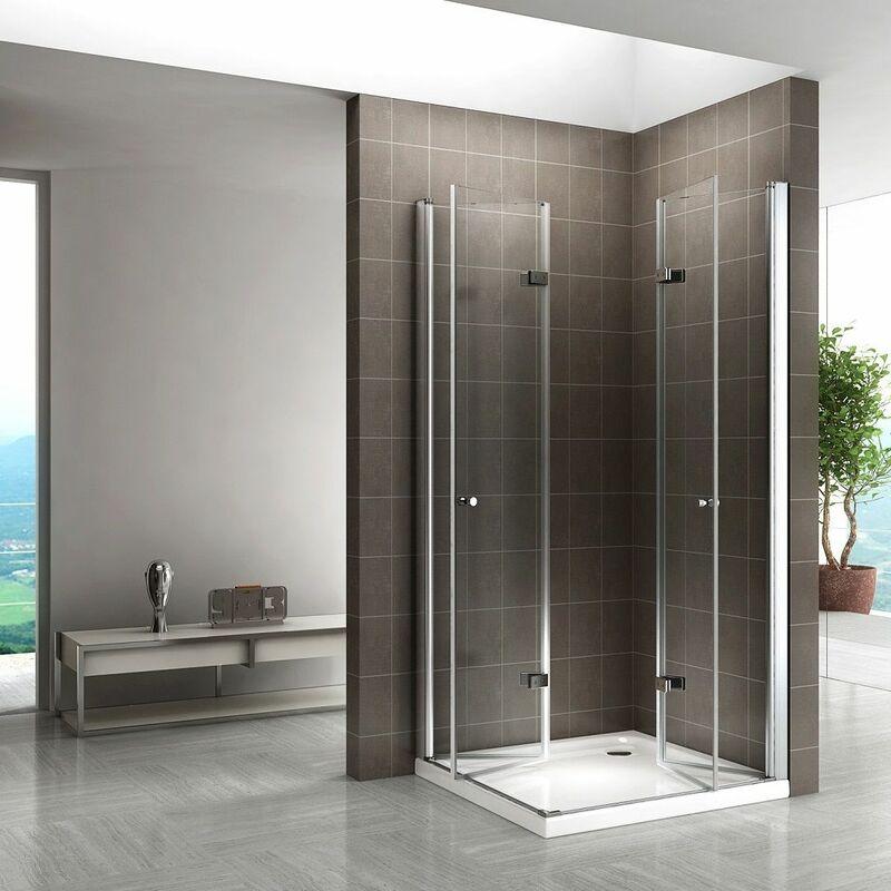 Dusche 90x90 Eckeinstieg Schiebetür NANO Glas Duschkabine Viertelkreis Duschwand