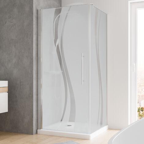 Duschkabine Dusche Drehtür mit Seitenwand 90x90 Eckdusche chromoptik Echtglas