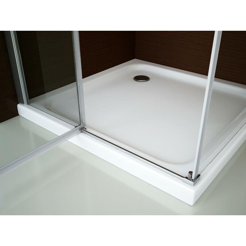 Breite w/ählbar Montage:Einbau Links Breite T/ürelement:80cm Breite Glas feststehend:70cm Duschkabine Eckdusche 8 mm Nano Echtglas DX403