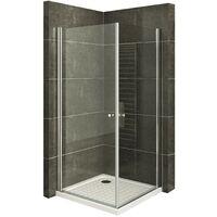 Duschkabine Eckeinstieg Duschabtrennung mit Pendeltüren NANO-ESG Klarglas
