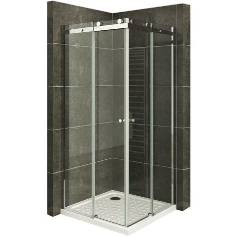 Duschkabine Eckeinstieg Duschabtrennung mit Schiebetüren NANO-ESG Klarglas Höhe: 200cm DK88