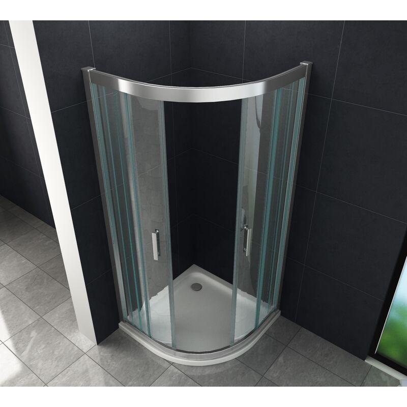 Duschkabine FRESH 80 x 80 x 195 cm (Viertelkreis) ohne Duschtasse