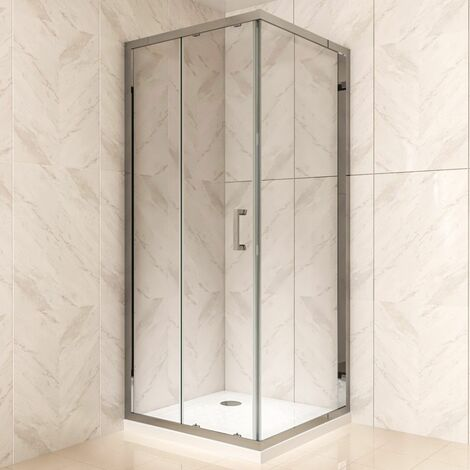 Duschkabine mit Schiebetür Eckdusche mit Rollensystem aus ESG Glas 190cm Hoch