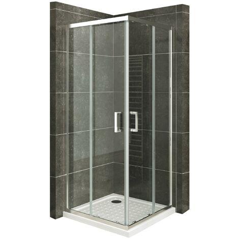 Duschkabine mit Schiebetüren Eckdusche mit Rollensystem aus ESG Glas 180 cm Hoch