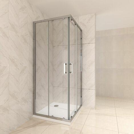 Duschkabine mit Schiebetüren Eckdusche mit Rollensystem aus ESG Glas 190cm Hoch