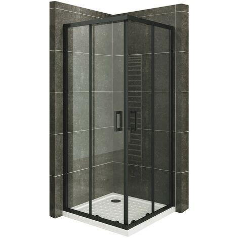 Duschkabine mit Schiebetüren Eckdusche mit Rollensystem aus ESG Glas 190cm Hoch mit schwarze Profile DK79