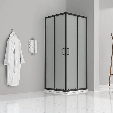 Duschkabine mit Schiebetüren Eckdusche mit Rollensystem aus satiniertem ESG Glas 180cm Hoch mit schwarzen Profilen DK79