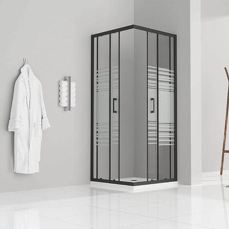 Duschkabine mit Schiebetüren Eckdusche mit Rollensystem aus teilsatiniertem ESG Glas 185cm Hoch mit schwarzen Profilen DK79