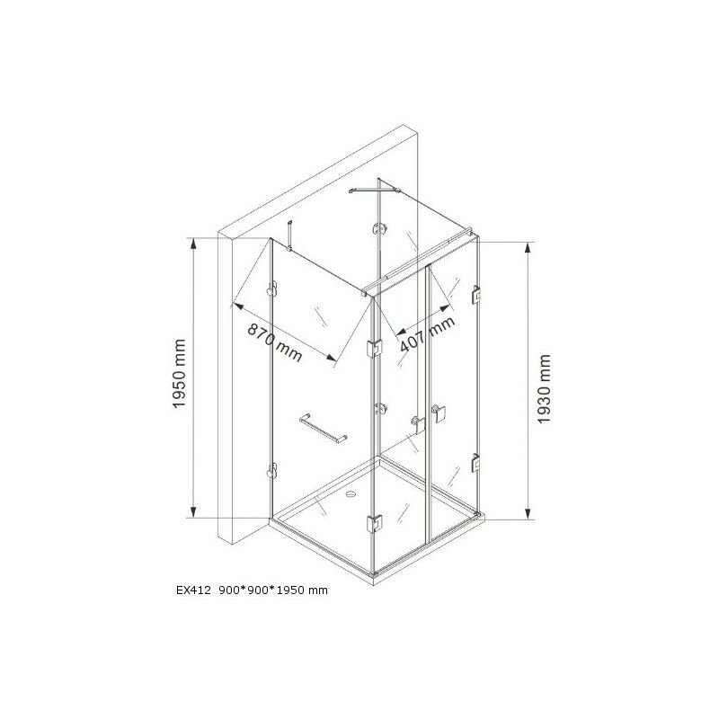 Duschkabine U Form 8 Mm Nano Echtglas Ex412 90 X 90 X 195 Cm