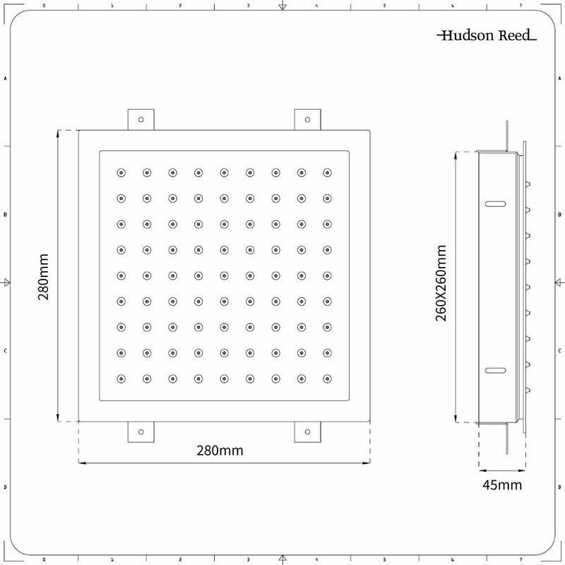 Duschkopf Edelstahl Unterputz Quadratisch 280mm - Trenton - SBSH004C-HR