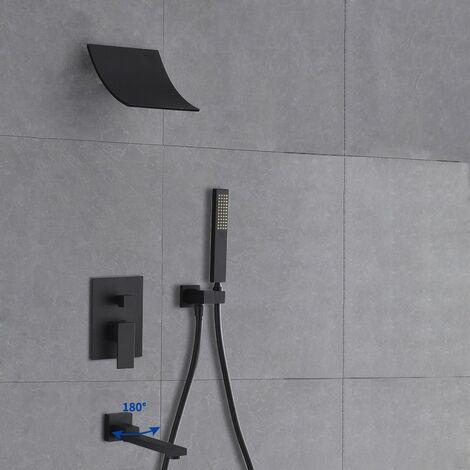 Duschkopf mit wandmontiertem Wasserfall und Handbrausensystem mit massivem schwarzen Wanneneinlauf