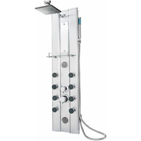 Duschpaneel aus Aluminium mit 10 Massagejets - Duschsäule, Brausegarnitur, Brausethermostat - plata