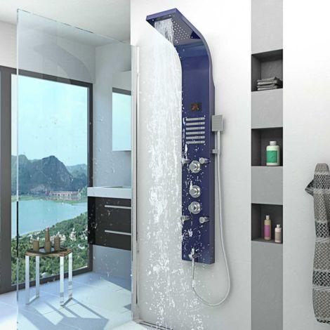 Duschpaneel aus Edelstahl Duschsäule Duscharmatur Thermostat Farbe blau DP01