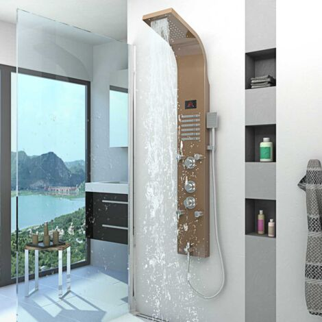 Duschpaneel aus Edelstahl Duschsäule Duscharmatur Thermostat Farbe rose DP01